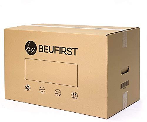 Beufirst Pack de 10 Cajas de Cartón con Asas 440x300x300mm, Cajas para Mudanza, Envíos, Almacenaje y Transporte
