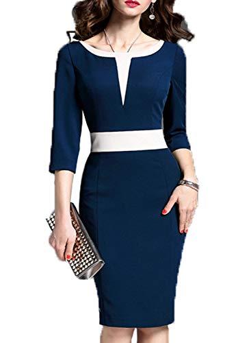 WOOSEA Women's 2/3 Sleeve Colorblock Slim Bodycon Business Pencil Dress (Small, Navy Blue)