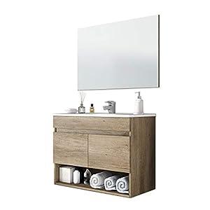 ARKITMOBEL 305110H - Mueble de baño Cotton con 2 Puertas y Espejo, modulo Lavabo Color Nordik, Medidas: 80 cm (Ancho) x 64 cm (Alto) x 45 cm (Fondo)