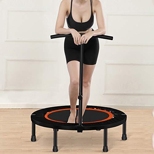 Opvouwbare fitness-trampoline, stille en gewrichtsvriendelijke rebounder-trampoline, met in hoogte verstelbare handgreep, oefenapparatuur voor kinderen en volwassenen