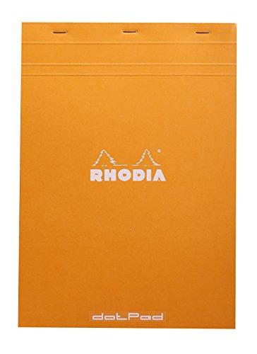 Rhodia 18558C DotPad Block (DIN A4, Dot Grid, 21 x 29.7 cm, 80 Blatt, ideal für Ihre Notizen) 1 Stück orange