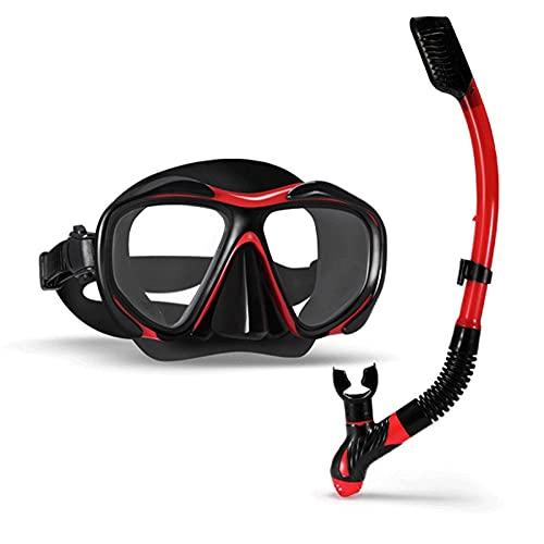 Juego de esnórquel completo con lente de vidrio templado miopía, esnórquel, esnórquel, esnórquel, esnórquel, equipo poco profundo, diseñado para adultos 2021/6/28 (color rojo)