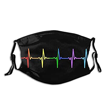 Rainbow Pulse Hearbeat Lgbt Face Mask Unisex Balaclava Washable Reusable Fashion Scarf With Filter