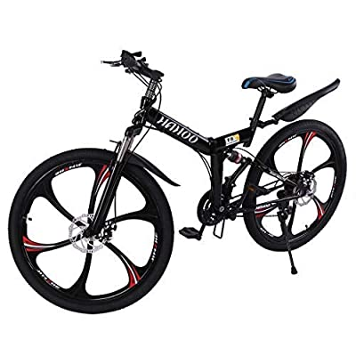 TOUNTLETS 26 Inch Adult Mountain Bikes, Unisex Folding Bike Non-Slip Bicycles - Fast-Speed Comfortable Outroad Racing Cycling - 21 Speed ??Gears Dual Disc Brakes Mountain Bicycle