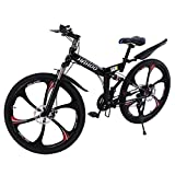 TOUNTLETS 26 Inch Adult Mountain Bikes, Unisex Folding Bike Non-Slip Bicycles - Fast-Speed Comfortable Outroad Racing Cycling,21-Speed Gears Dual Disc Brakes Mountain Bicycle (Six Impeller)