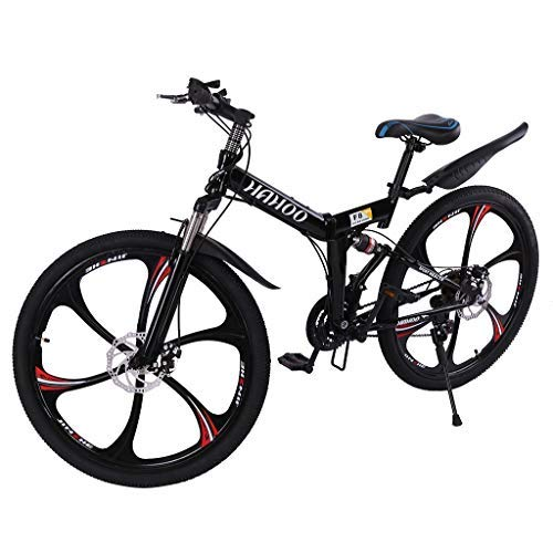 TOUNTLETS 26 Inch Adult Mountain Bikes, Unisex Folding Bike Non-Slip Bicycles - Fast-Speed Comfortable Outroad Racing Cycling - 21 Speed Gears Dual Disc Brakes Mountain Bicycle