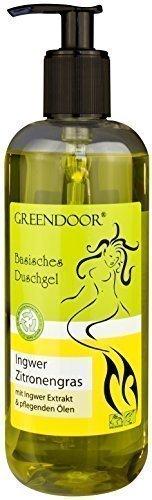500ml Greendoor Basisches Duschgel Ingwer-Zitronengras - biologisch abbaubar, Natur für Ihre Haut aus der Naturkosmetik Manufaktur, ohne Silikon, ohne Sulfate, ohne Konservierungsmittel, natural