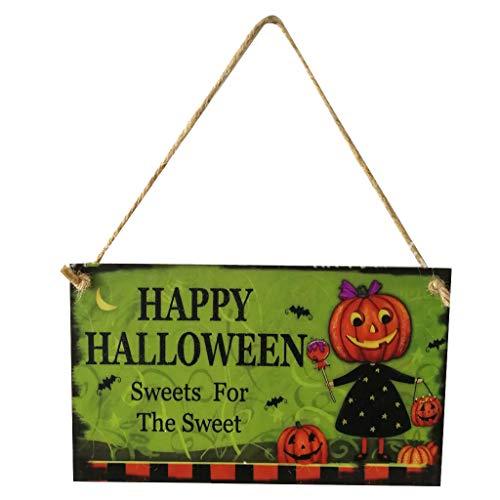 MOIX Spukhaus Deko Innen und Außen Holz Halloween Kürbis Mann Muster hängen Brett Spukhaus Dekoration 25x15x0,5 cm Hut Vogelscheuche kürbis Lampe