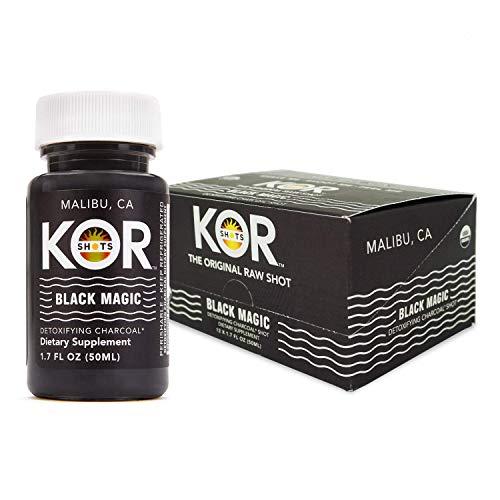 Kor Shots Ginger and Activated Charcoal Shot - 24 Pack x 1.7 Fl Oz - Black Magic Shot - Freshly Pressed Ginger and Activated Charcoal Detox Shot - Dietary Supplement