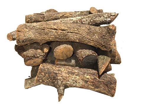 Leña para chimenea, Estufa o Barbacoa. Leña de Encina tronco de leña mediano 30-40CM LISTA PARA USAR 18-20KG aprox EN CAJA DE 40litros especial para estufas barbacoas chimenas