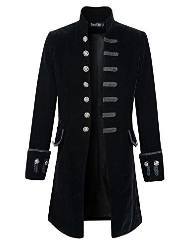 Mens Velvet Goth Steampunk Victorian Frock Coat (XXL, Black)