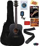 Jasmine S35 Acoustic Guitar - Matte Black Bundle with Gig Bag, Strings, Tuner, Strap, Picks, Instructional Book, DVD, Capo, and Austin Bazaar Polishing Cloth
