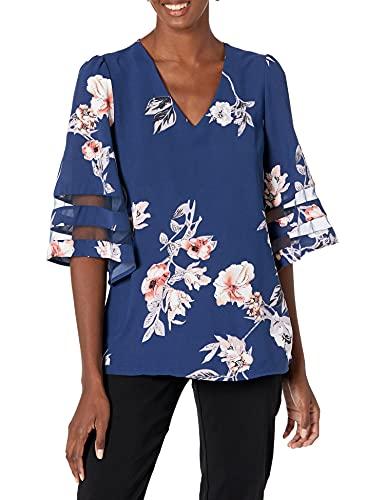 BLENCOT Women's Summer V Neck Mesh Panel 3/4 Bell Sleeve Tops Floral Loose Flowy Blouses Shirts Blue L
