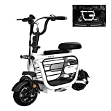 ZHHL Electric 3-Wheel Mobility Scooter, Lightweight Folding, Collapsible And Compact, Traveling With Pets Portable Electric Tricycles With Child Seat for Adults,48V8AH/35km White-85km