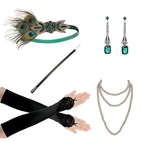 Zivyes 1920er Jahre Flapper, Zubehör für Frauen, 20er-Jahre Kostüm, Zubehör-Set aus Flapper-Stirnband, Handschuhen, Halskette und Zigarettenhalter