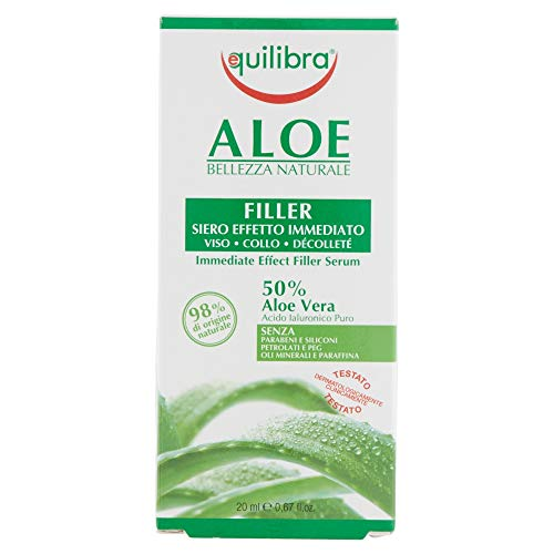 Equilibra Viso, Aloe Filler Siero Effetto Immediato, Siero Viso a Base di Aloe Vera per Pelli Sensibili, Idratante e Protettivo, Contrasta i Segni dell'Invecchiamento su Pelli Mature, 20 ml