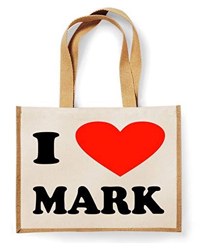 Festival-Fashion Sac Cabas en Toile de Jute avec Inscription « I Love Mark », Coton, Naturel, 42 x 33 x 19cm