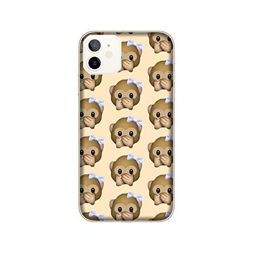 Funda iPhone 12 Mini Carcasa Compatible para Apple iPhone 12 Mini Whatsapp Emoticon de Mono pequeño no Habla/Imprimir también en los Lados/Teléfono Duro A presión Antideslizante Antideslizante