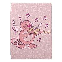 RECASO バイオリンを持つピンク猫 iPad2/iPad3/iPad4 用 スマートカバー ケース ipad2 ケース アイパッド ipad3 ケース ipad4 三つ折り保護カバー TPUケース ソフトケース