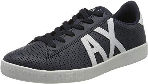 Armani Exchange AX Logo Box Sole Sneakers, Zapatillas para Hombre, Azul (Navy+Opt White A138), 44 EU