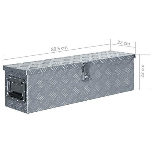vidaXL Aluminiumkiste 80,5x22x22cm Alu Box Koffer Werkzeugbox Transportkiste - 7