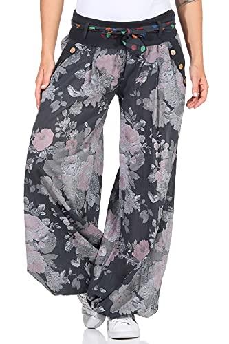 Moda Italy Damen Haremshose Pumphose Ballonhose Pluderhose Yogahose Aladinhose Harem Sommerhose mit Stoffgürtel Flower-Print, One Size Gr.36-42, Anthrazit