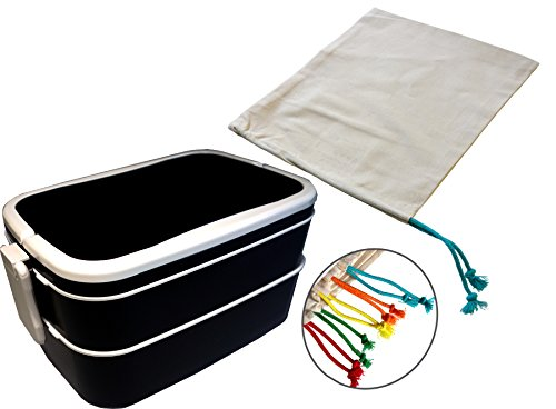 2-tier Bento Lunch Box with Utensils and a Drawstring Storage Bag - IKEA Lunch Bundle (Random drawstring color)
