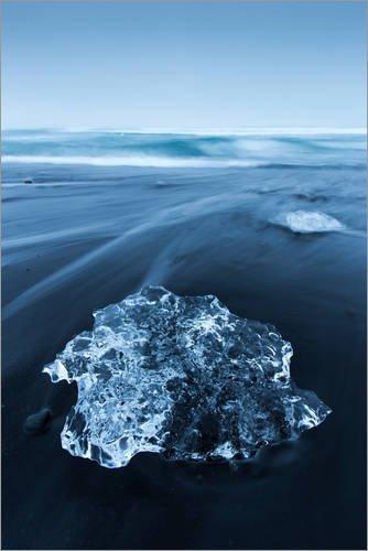 Poster 61 x 91 cm: Diamond Beach auf Island #1 von Sebastian Warneke - hochwertiger Kunstdruck, neues Kunstposter