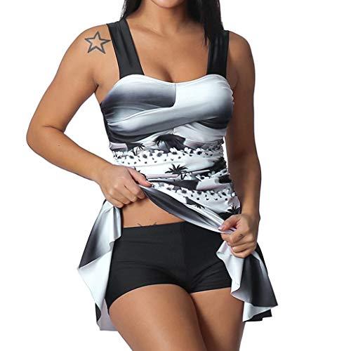 Yuelie Traje de baño Tankini de Dos Piezas para Mujer, Talla Grande, con Estampado de Color Degradado, Traje de baño de Playa con Corbata de Boyshort Negro Negro (4XL