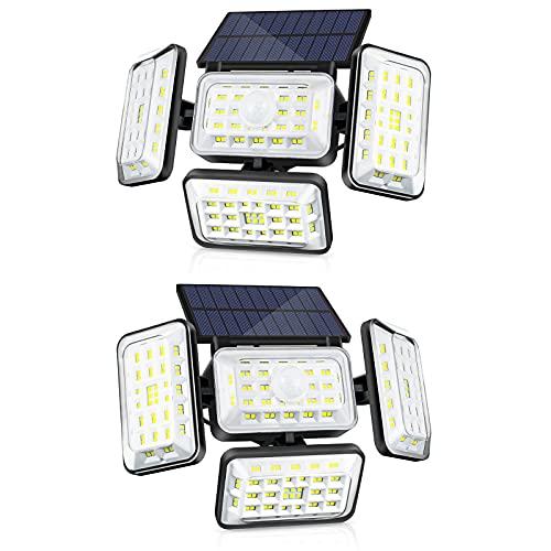 Fousômo Luces Solares para Exteriores 4 Cabezas 242 LEDs LED Lampara Aplique Pared Exterior Control Remoto Sensor de Movimiento IP65 Impermeable