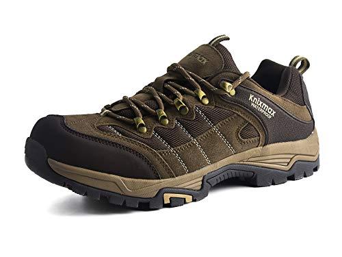 Knixmax-Zapatillas de Montaña para Mujer, Zapatos de Senderismo Calzado de Trekking Escalada Aire Libre Zapatos Low-Top Impermeable Antideslizante Zapatos de Trekking (Marrón, Gris) Brown-7