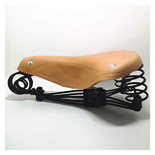 Viejo estilo tradicional Vintage Remache Cuero de la Vaca Silla de montar Estándar MTB Road Vintage Bicicleta Ciclismo Accesorios Cojín Asiento Asiento de Bicicleta (Color: Marrón, Tamaño: G46) WANGHN