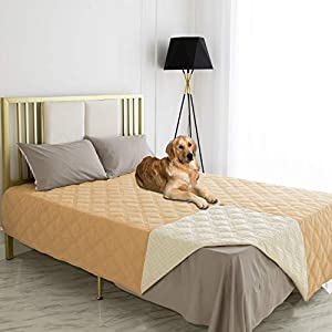Ameritex Waterproof Dog Bed Cover Pet Blanket with Anti-Slip Back for Furniture Bed Couch Sofa (52×82 Inches, Sand)