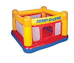 The Playhouse Jump-O-Lene has an inflated base size of approximately 68.5in (174cm) x 68.5in (174cm). The overall height from the floor is 44in (112cm). It has a soft inflatable floor and high walls to provide a safe bouncing platform. The sides have...