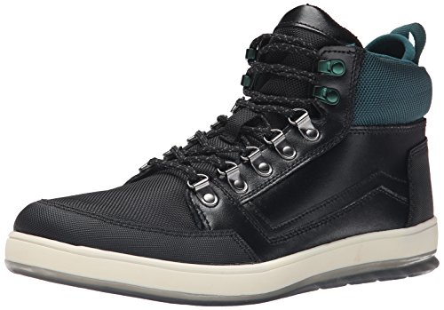 CK Jeans Men's Marshall Leather/Nylon, Black/Emerald, 13 M US