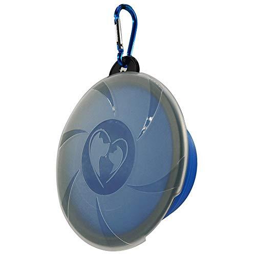 Fancylande - Cuenco plegable de silicona para mascotas con tapa, para comida para gatos y perros para viajes al aire libre, fácil de guardar y transportar