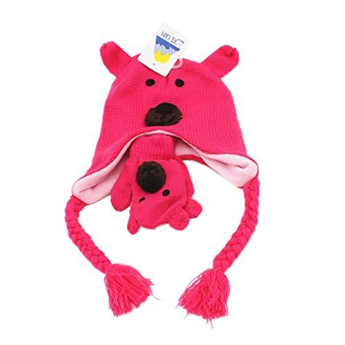 Tendycoco Baby gebreide muts beer gebreide muts winter warme cartoon schattige muts met handschoenen voor meisjes rood, Moyen, Roze