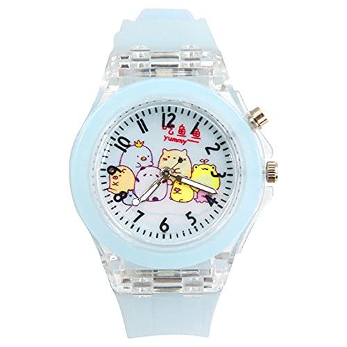 SANDA Relojes Niña,Historieta Anime Child Bowl Bowl Watch Luminoso Colorido lámpara Reloj Silicona LED Tabla de Cuarzo-Luz de luz Azul