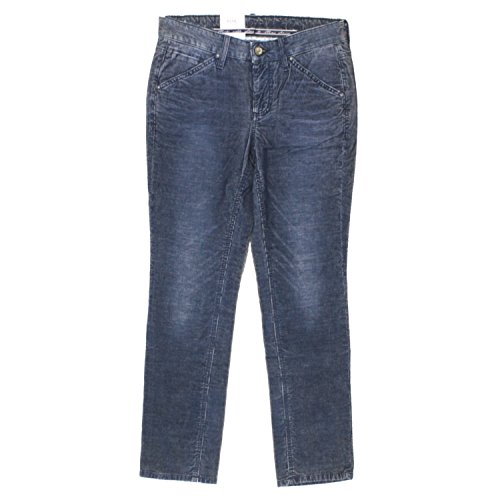 Mac, Ashley New Super SLI, Damen Jeans Hose, Nadelcordstretch, Marineblau meliert, D 34 L 28 Inch 26 [17075]