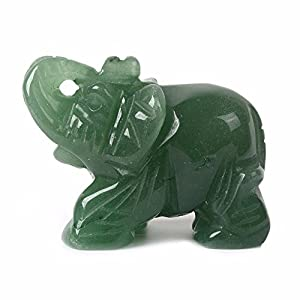 Justinstones Carved Natural Green Aventurine Gemstone Elephant Healing Guardian Statue Figurine Crafts 2 inch