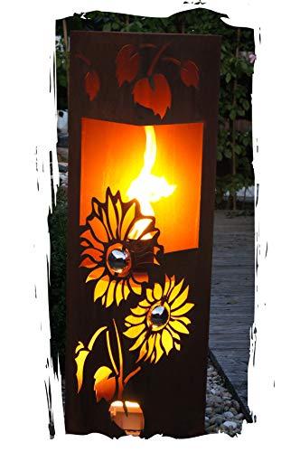 Feuersäule Sonnenblume Edelrost Rost Metall Gartendeko Garten Stele Fackel Feuer Säule
