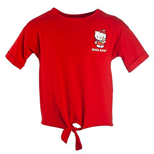 Youth Girls? Hello Kitty Tie-Front Short-Sleeve T-Shirt-X-Large