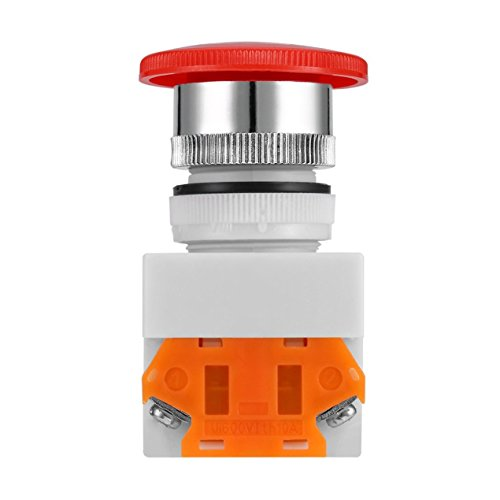 DBSUFV Interruptor de Parada de Emergencia NC N/C, botón pulsador Tipo Hongo, 4 terminales de Tornillo, 600 V / 10A, Superficie de plástico, botón de 40 mm