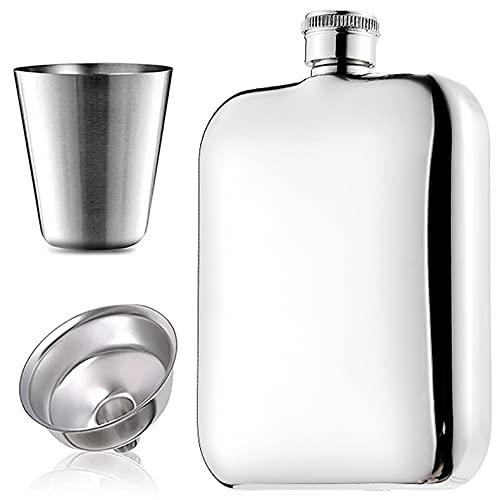 Frasco de cadera de 8 oz para licor para hombres, juego de petaca portátil de acero inoxidable 316 frascos para beber de alcohol a prueba de fugas con vasos de chupito y frasco de whisky con e