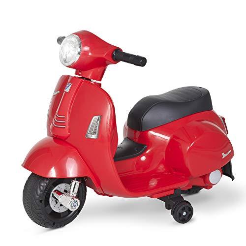 HOMCOM Moto Eléctrica Vespa para Niños de 18-36 Meses con Faro Bocina y 4 Ruedas Motocicleta Infantil con Licencia 66,5x38x52 cm Rojo