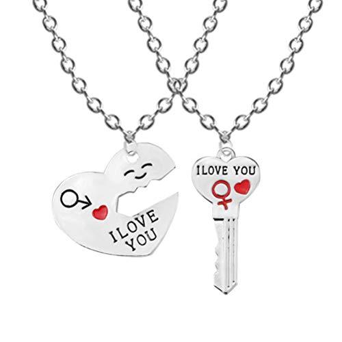 BESTOYARD 2 unids / Set Pareja Collares TE Amo Cartas Corazón Patrón Colgante Pareja Llave Forma Amantes Regalos para el Día de San Valentín