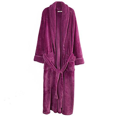 Richie House Women's Plush Soft Warm Fleece Bathrobe RH1591-E-L Large Dark Purple