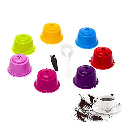 AUOKER Refillable Reusable Coffee Capsules Pods For Nescafe Dolce Gusto Machine Filter, 7 Pack Colorful Cups with Spoon and Brush, Compatible for All Dolce Gusto/Circolo/Genio/Melody