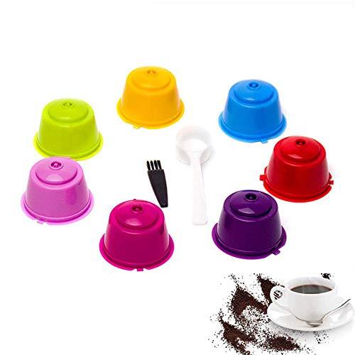 Capsules de café réutilisables rechargeables AUOKER pour le filtre-machine Nescafé Dolce Gusto, paquet de 7 tasses colorées avec cuillère et pinceau
