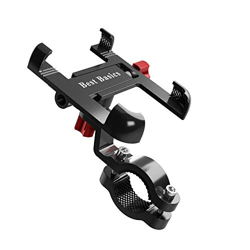 Best Basics Universal Fit Bike Handlebar Phone Mount - Made with Aluminum Alloy - Easy to Install - Adjustable Phone Holder - 360 Degree Rotating Cell Phone Holder - Compatible with All Smartphones